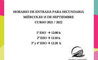 Horario inicio curso secundaria 2021-2022
